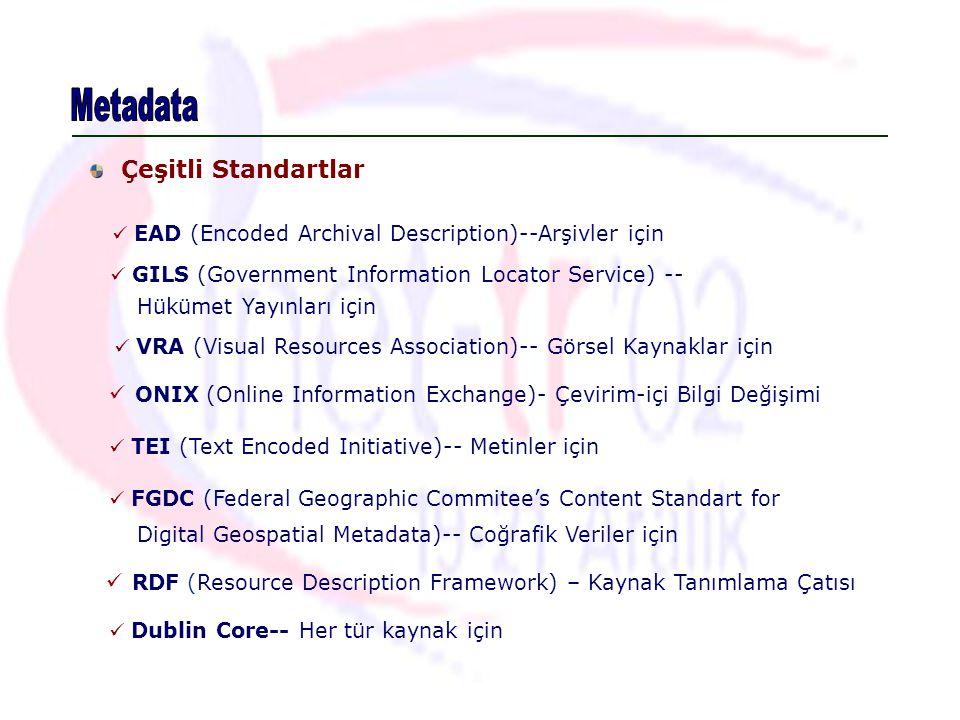 Çeşitli Standartlar EAD (Encoded Archival Description)--Arşivler için GILS (Government Information Locator Service) -- VRA (Visual Resources Associati
