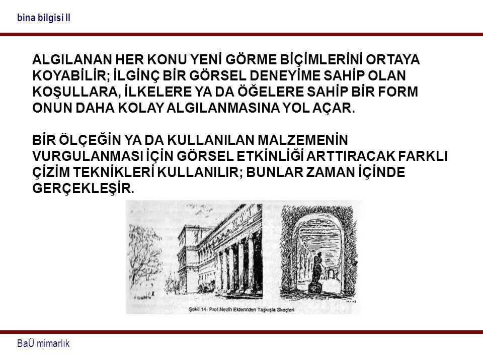 BaÜ mimarlık bina bilgisi II ALGILANAN HER KONU YENİ GÖRME BİÇİMLERİNİ ORTAYA KOYABİLİR; İLGİNÇ BİR GÖRSEL DENEYİME SAHİP OLAN KOŞULLARA, İLKELERE YA