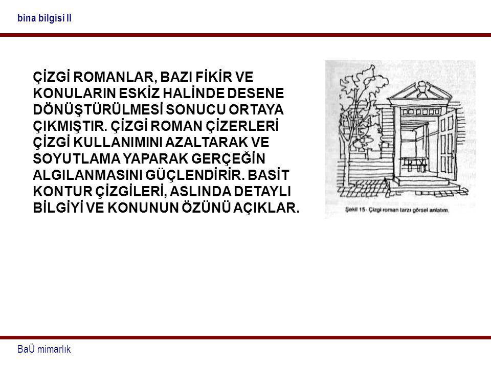 BaÜ mimarlık bina bilgisi II ÇİZGİ ROMANLAR, BAZI FİKİR VE KONULARIN ESKİZ HALİNDE DESENE DÖNÜŞTÜRÜLMESİ SONUCU ORTAYA ÇIKMIŞTIR. ÇİZGİ ROMAN ÇİZERLER