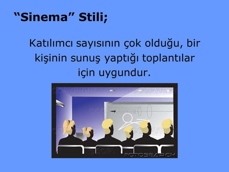 """""""Sinema"""" Stili; Katılımcı sayısının çok olduğu, bir kişinin sunuş yaptığı toplantılar için uygundur."""