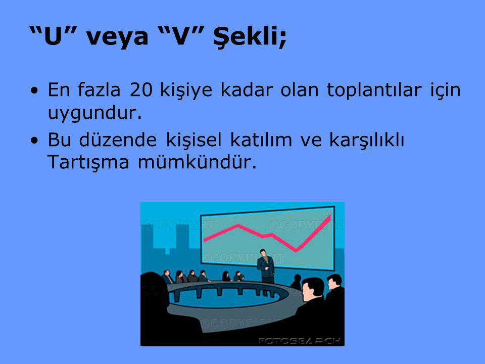 U veya V Şekli; En fazla 20 kişiye kadar olan toplantılar için uygundur.