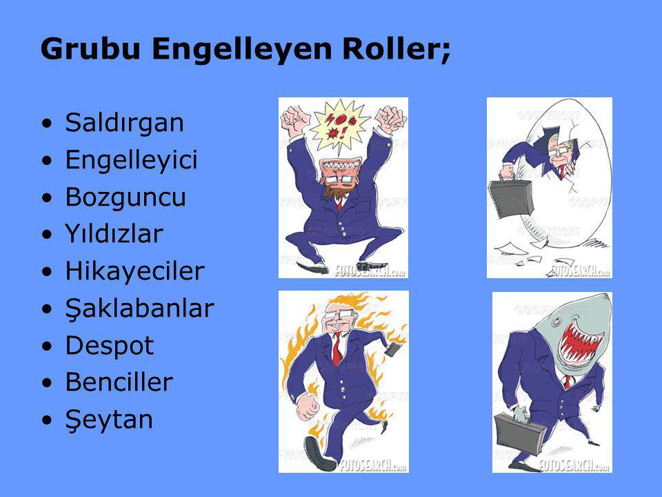 Grubu Engelleyen Roller; Saldırgan Engelleyici Bozguncu Yıldızlar Hikayeciler Şaklabanlar Despot Benciller Şeytan