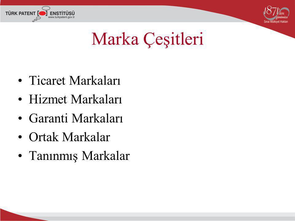 Marka Çeşitleri Ticaret Markaları Hizmet Markaları Garanti Markaları Ortak Markalar Tanınmış Markalar