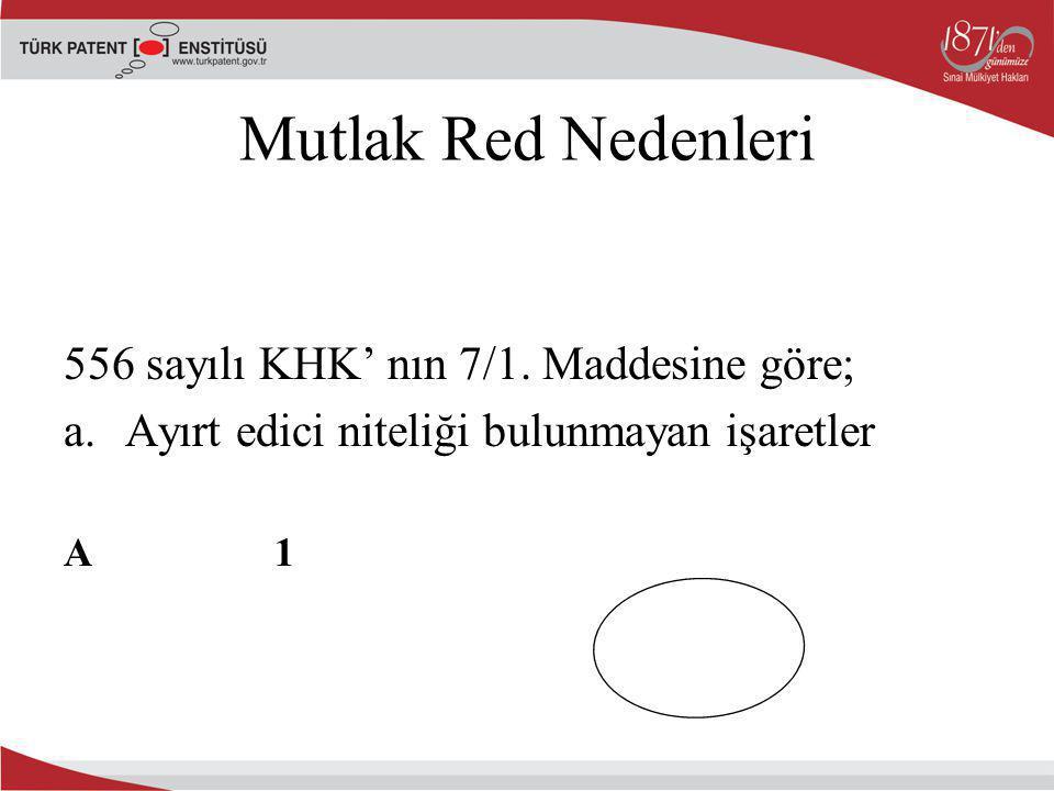 Mutlak Red Nedenleri 556 sayılı KHK' nın 7/1. Maddesine göre; a.Ayırt edici niteliği bulunmayan işaretler A1