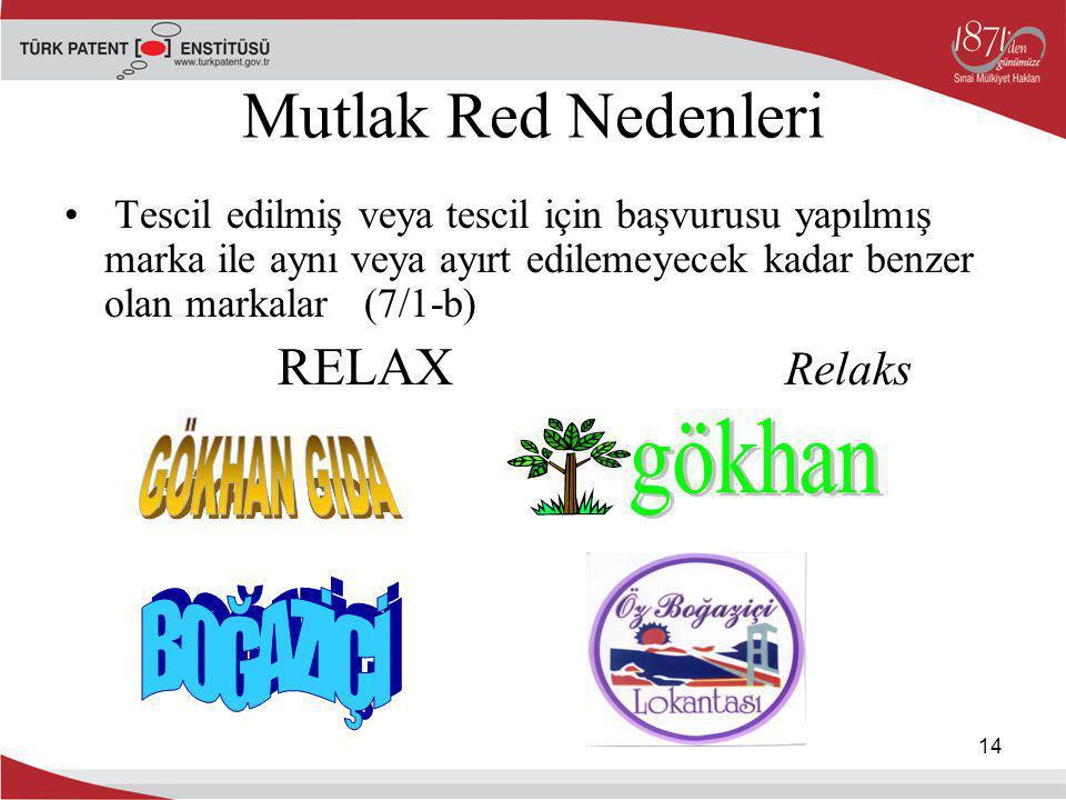 14 Mutlak Red Nedenleri Tescil edilmiş veya tescil için başvurusu yapılmış marka ile aynı veya ayırt edilemeyecek kadar benzer olan markalar (7/1-b) R