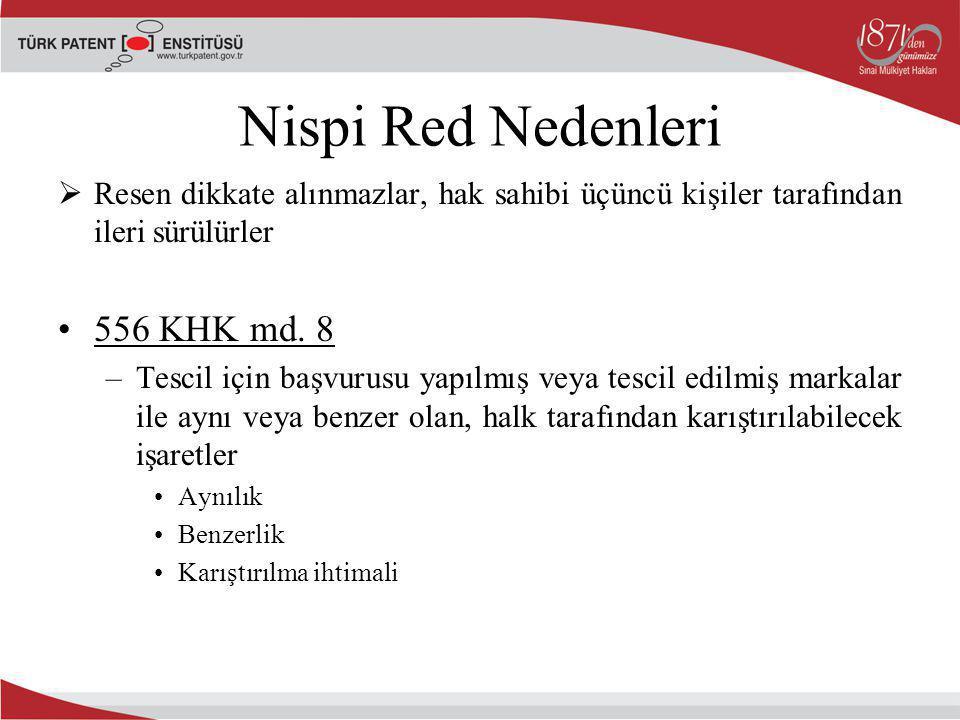 Nispi Red Nedenleri  Resen dikkate alınmazlar, hak sahibi üçüncü kişiler tarafından ileri sürülürler 556 KHK md. 8 –Tescil için başvurusu yapılmış ve