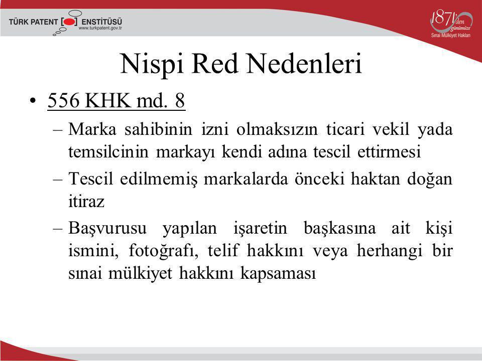 Nispi Red Nedenleri 556 KHK md. 8 –Marka sahibinin izni olmaksızın ticari vekil yada temsilcinin markayı kendi adına tescil ettirmesi –Tescil edilmemi