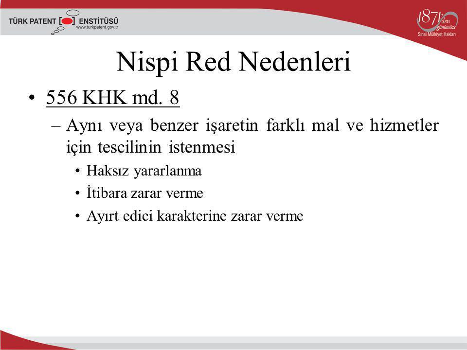 Nispi Red Nedenleri 556 KHK md. 8 –Aynı veya benzer işaretin farklı mal ve hizmetler için tescilinin istenmesi Haksız yararlanma İtibara zarar verme A