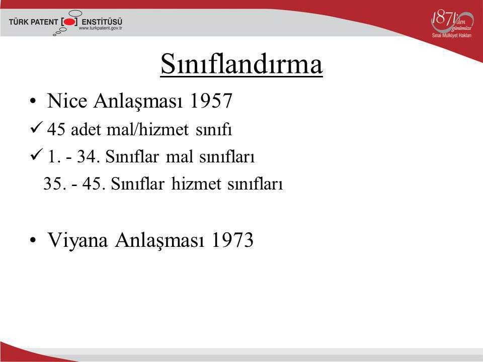 Sınıflandırma Nice Anlaşması 1957 45 adet mal/hizmet sınıfı 1. - 34. Sınıflar mal sınıfları 35. - 45. Sınıflar hizmet sınıfları Viyana Anlaşması 1973