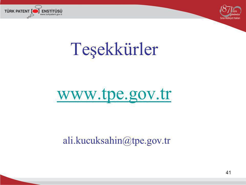 41 Teşekkürler www.tpe.gov.tr ali.kucuksahin@tpe.gov.tr www.tpe.gov.tr