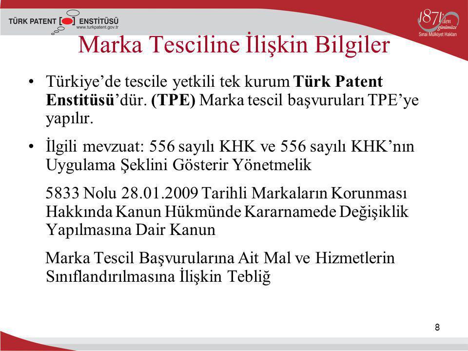 8 Marka Tesciline İlişkin Bilgiler Türkiye'de tescile yetkili tek kurum Türk Patent Enstitüsü'dür. (TPE) Marka tescil başvuruları TPE'ye yapılır. İlgi
