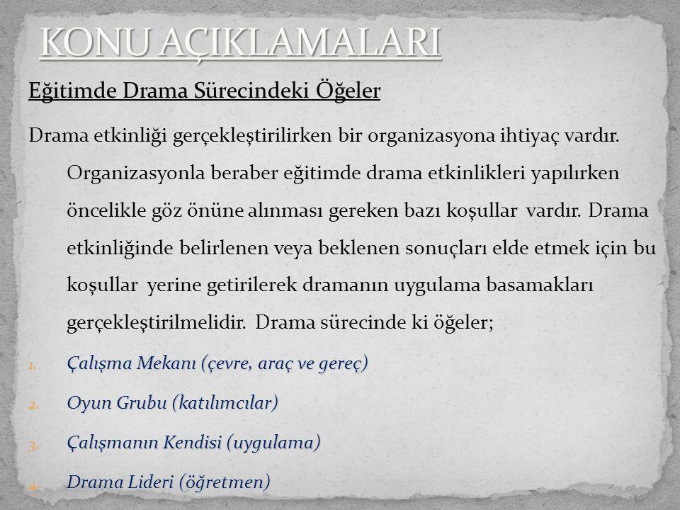 Eğitimde Drama Sürecindeki Öğeler Drama etkinliği gerçekleştirilirken bir organizasyona ihtiyaç vardır.
