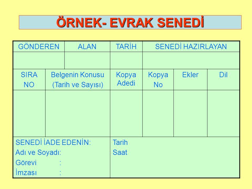 ÖRNEK GİZLİ İVEDİ T.C.