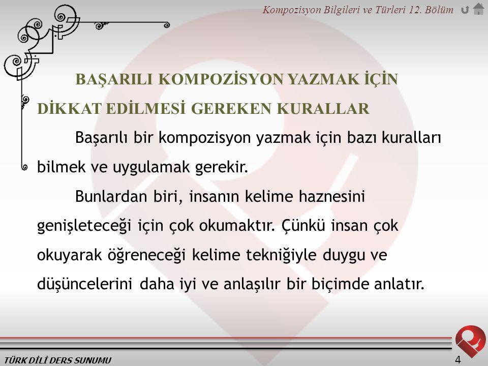 TÜRK DİLİ DERS SUNUMU Kompozisyon Bilgileri ve Türleri 12.
