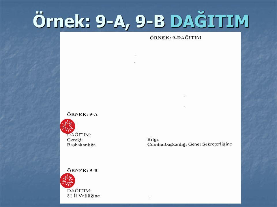 Örnek: 9-A, 9-B DAĞITIM