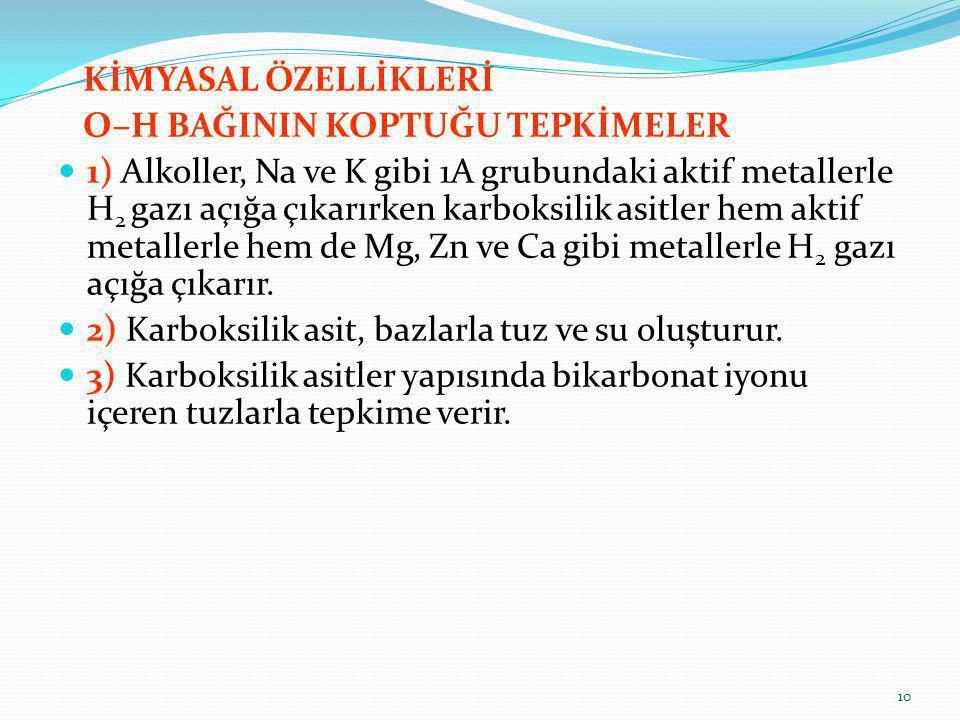 KİMYASAL ÖZELLİKLERİ O–H BAĞININ KOPTUĞU TEPKİMELER 1) Alkoller, Na ve K gibi 1A grubundaki aktif metallerle H 2 gazı açığa çıkarırken karboksilik asi