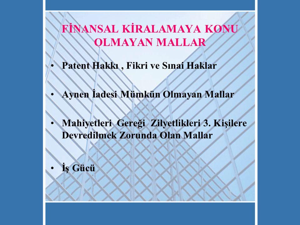 FİNANSAL KİRALAMAYA KONU OLMAYAN MALLAR Patent Hakkı, Fikri ve Sınai Haklar Aynen İadesi Mümkün Olmayan Mallar Mahiyetleri Gereği Zilyetlikleri 3.