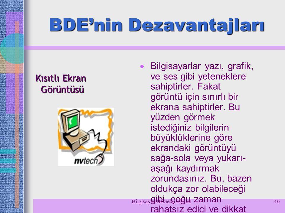 Bilgisayar Destekli Eğitim40 BDE'nin Dezavantajları  Bilgisayarlar yazı, grafik, ve ses gibi yeteneklere sahiptirler. Fakat görüntü için sınırlı bir