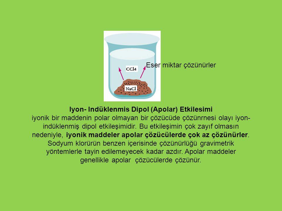Iyon- Indüklenmis Dipol (Apolar) Etkilesimi iyonik bir maddenin polar olmayan bir çözücüde çözünrnesi olayı iyon- indüklenmiş dipol etkileşimidir. Bu