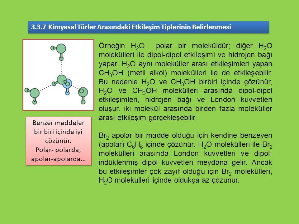 3.3.7 Kimyasal Türler Arasındaki Etkileşim Tiplerinin Belirlenmesi Örneğin H 2 O polar bir moleküldür; diğer H 2 O molekülleri ile dipol-dipol etkileş