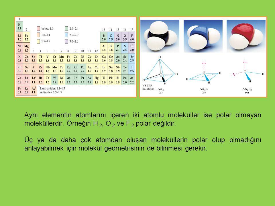 Aynı elementin atomlarını içeren iki atomlu moleküller ise polar olmayan moleküllerdir. Örneğin H 2, O 2 ve F 2 polar değildir. Üç ya da daha çok atom