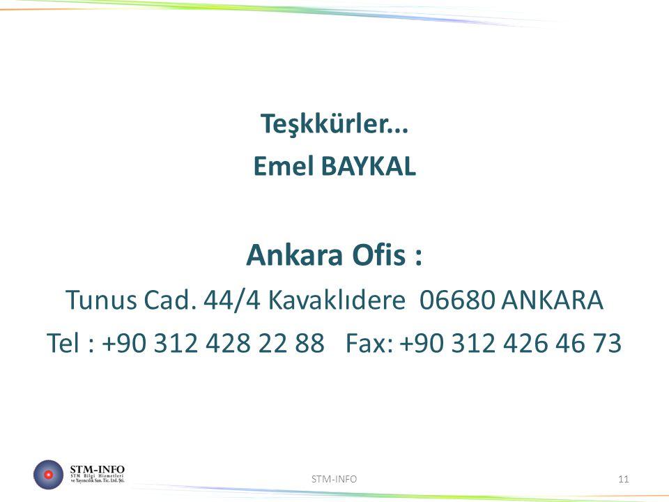 Teşkkürler... Emel BAYKAL Ankara Ofis : Tunus Cad.