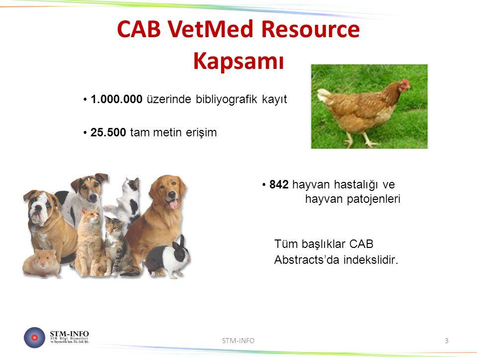 CAB VetMed Resource Kapsamı STM-INFO3 1.000.000 üzerinde bibliyografik kayıt 25.500 tam metin erişim 842 hayvan hastalığı ve hayvan patojenleri Tüm başlıklar CAB Abstracts'da indekslidir.