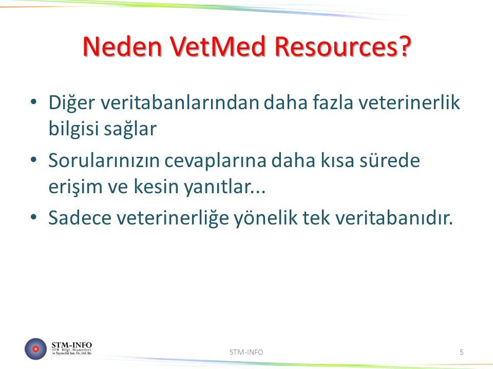 Neden VetMed Resources? Diğer veritabanlarından daha fazla veterinerlik bilgisi sağlar Sorularınızın cevaplarına daha kısa sürede erişim ve kesin yanı