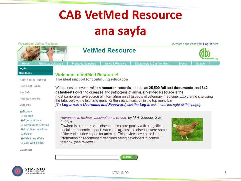 CAB VetMed Resource ana sayfa STM-INFO8