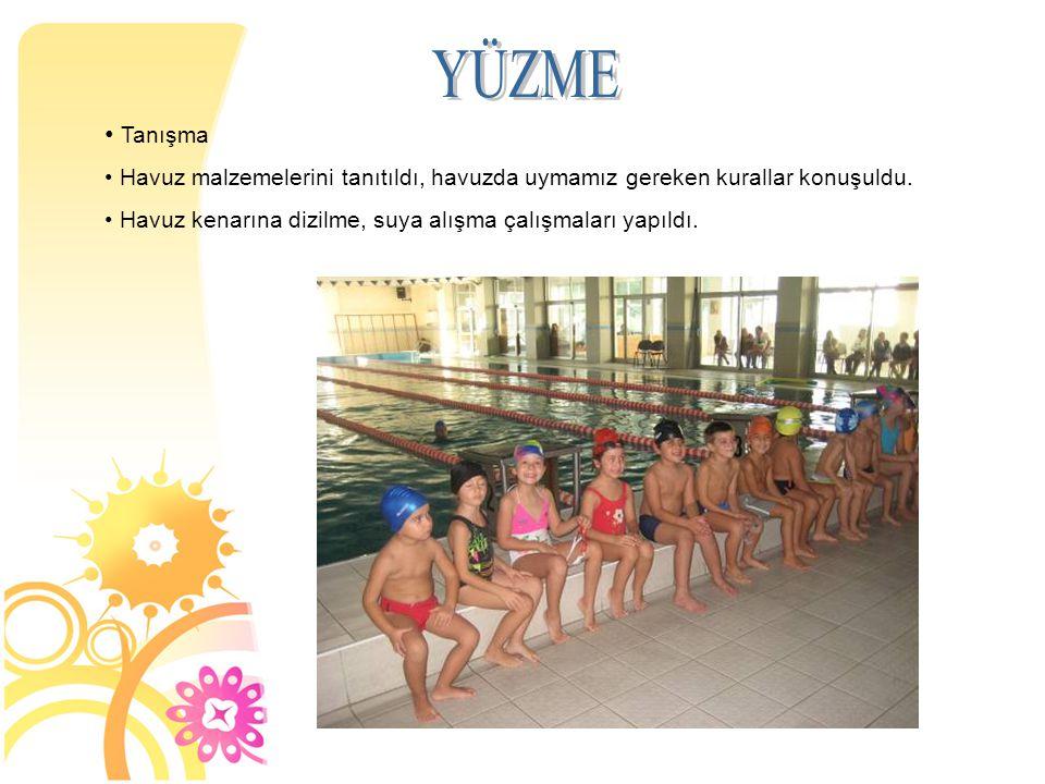 Tanışma Havuz malzemelerini tanıtıldı, havuzda uymamız gereken kurallar konuşuldu.