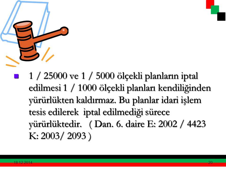 20 1 / 25000 ve 1 / 5000 ölçekli planların iptal edilmesi 1 / 1000 ölçekli planları kendiliğinden yürürlükten kaldırmaz. Bu planlar idari işlem tesis