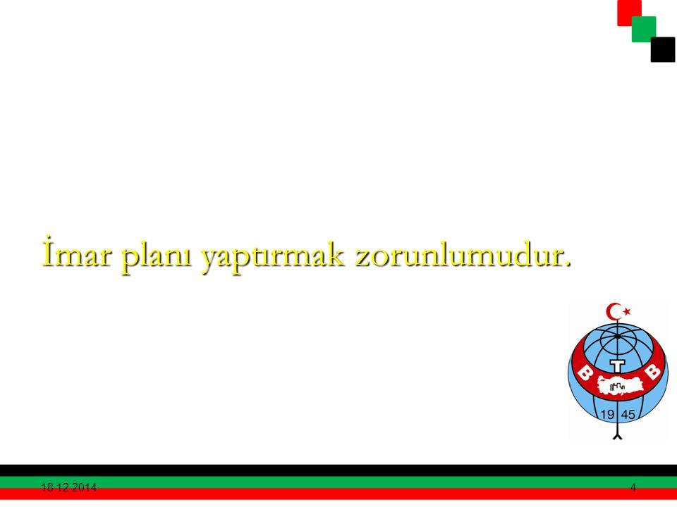 İmar planı yaptırmak zorunlumudur. 18.12.2014 4