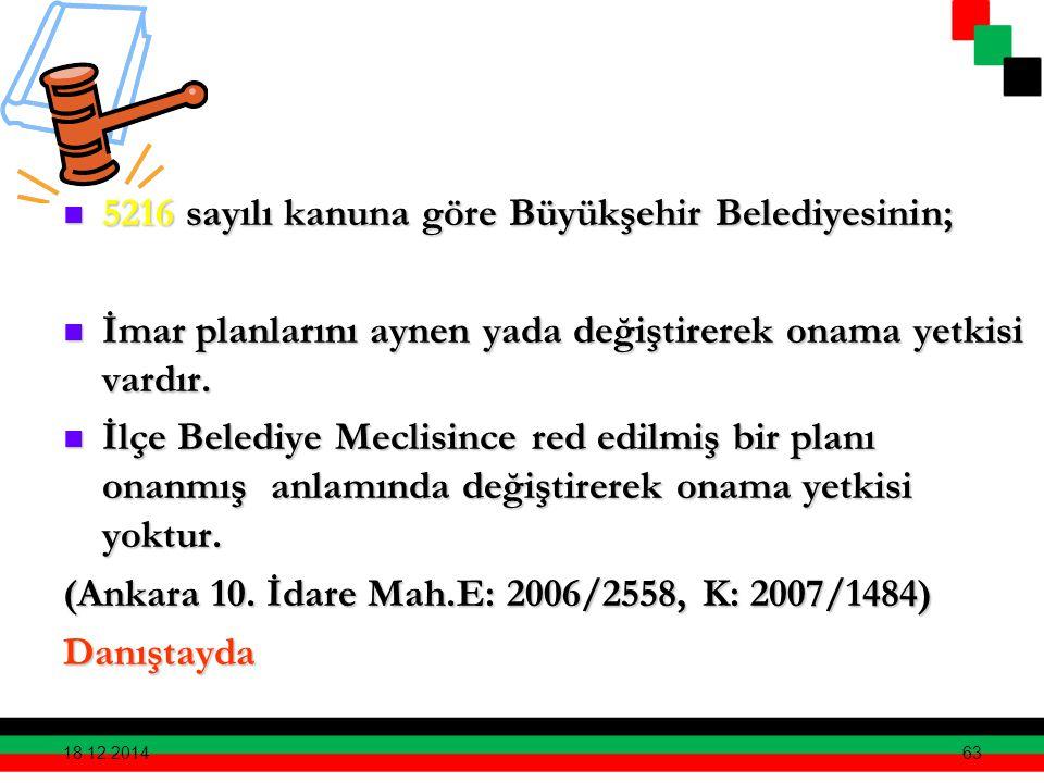 63 5216 sayılı kanuna göre Büyükşehir Belediyesinin; 5216 sayılı kanuna göre Büyükşehir Belediyesinin; İmar planlarını aynen yada değiştirerek onama y