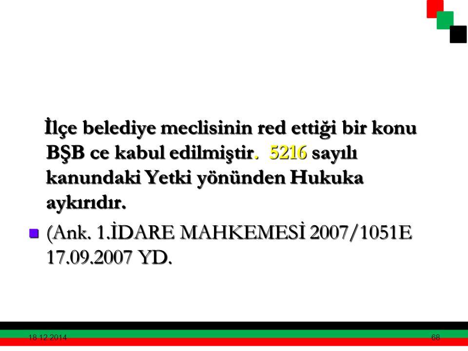 İlçe belediye meclisinin red ettiği bir konu BŞB ce kabul edilmiştir. 5216 sayılı kanundaki Yetki yönünden Hukuka aykırıdır. İlçe belediye meclisinin