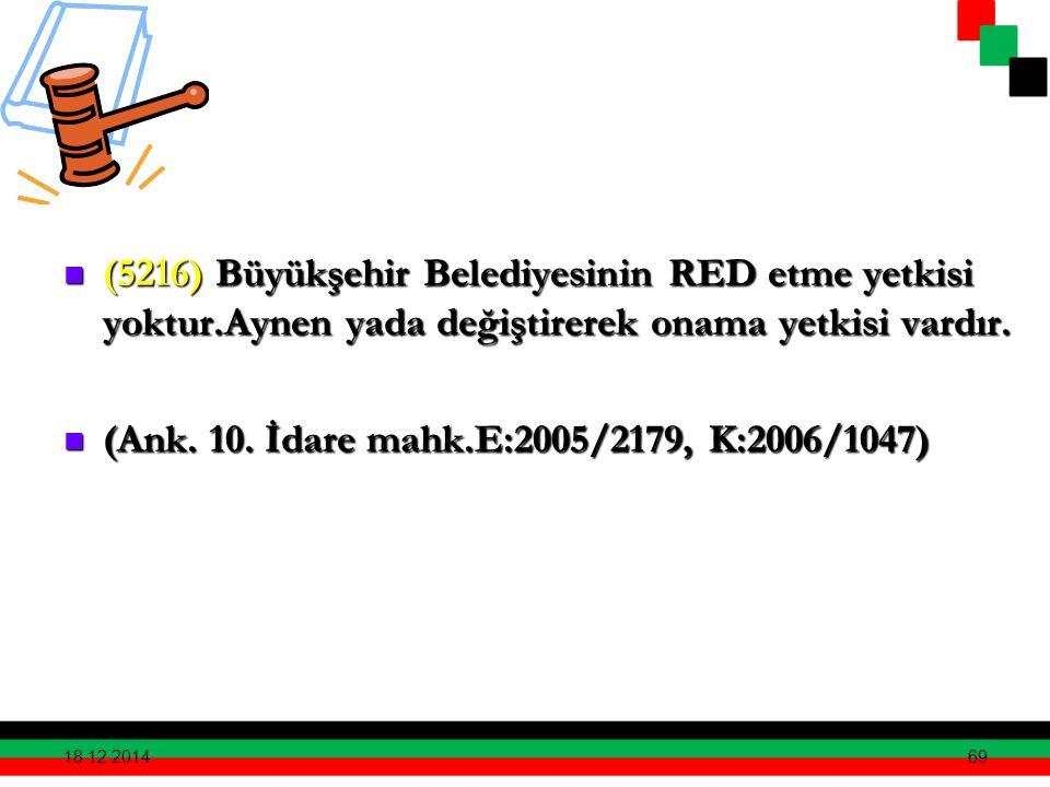 69 (5216) Büyükşehir Belediyesinin RED etme yetkisi yoktur.Aynen yada değiştirerek onama yetkisi vardır. (5216) Büyükşehir Belediyesinin RED etme yetk