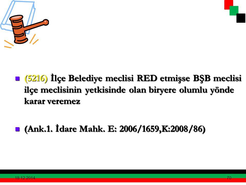 70 (5216) İlçe Belediye meclisi RED etmişse BŞB meclisi ilçe meclisinin yetkisinde olan biryere olumlu yönde karar veremez (5216) İlçe Belediye meclis