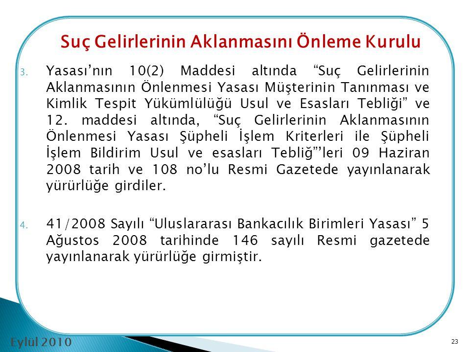 """22 1. """"Suç Gelirlerinin Aklanmasının Önlenmesi Yasası"""" meclis genel kurulunda kabul edilerek 29 Ocak 2008 tarihinde 20 Sayılı Resmi Gazetede yayınlana"""