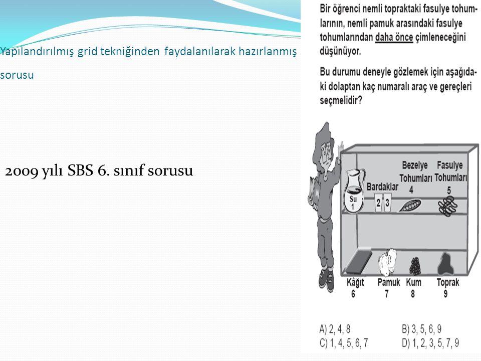 67 Yapılandırılmış grid tekniğinden faydalanılarak hazırlanmış SBS sorusu 2009 yılı SBS 6. sınıf sorusu