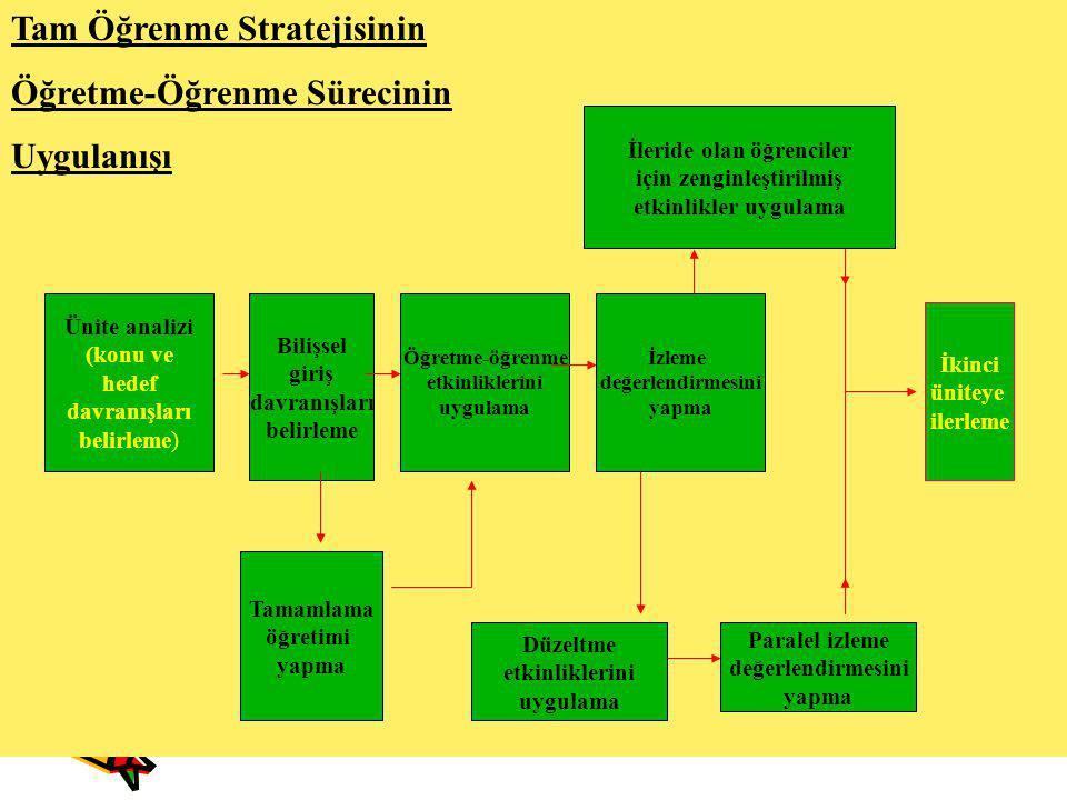 Tam Öğrenme Stratejisinin Öğretme-Öğrenme Sürecinin Uygulanışı Ünite analizi (konu ve hedef davranışları belirleme) Bilişsel giriş davranışları belirl