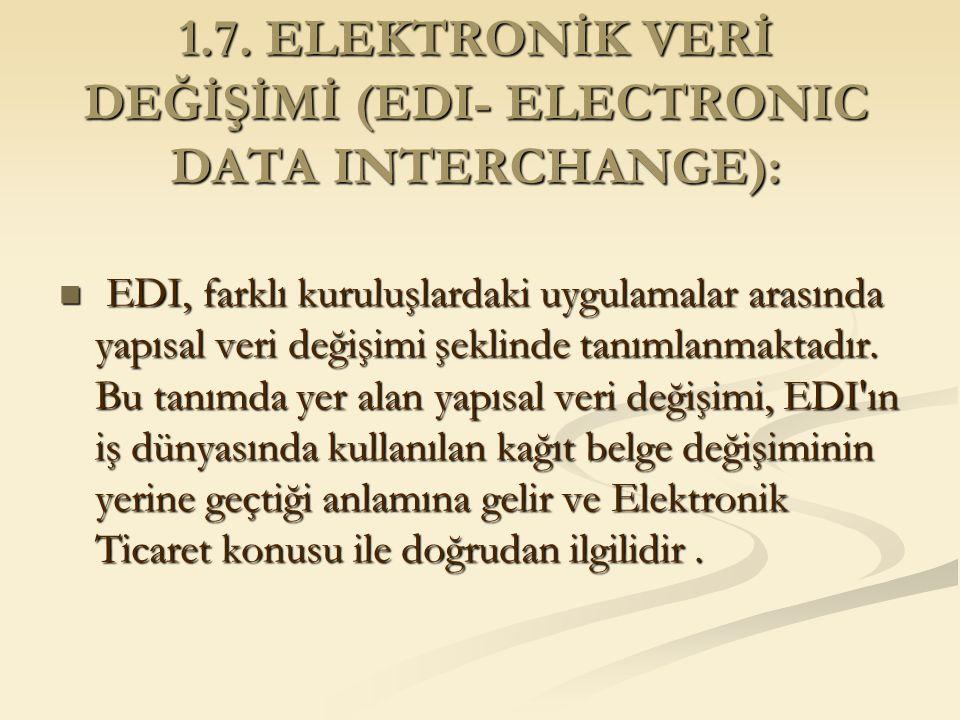 1.7. ELEKTRONİK VERİ DEĞİŞİMİ (EDI- ELECTRONIC DATA INTERCHANGE): EDI, farklı kuruluşlardaki uygulamalar arasında yapısal veri değişimi şeklinde tanım