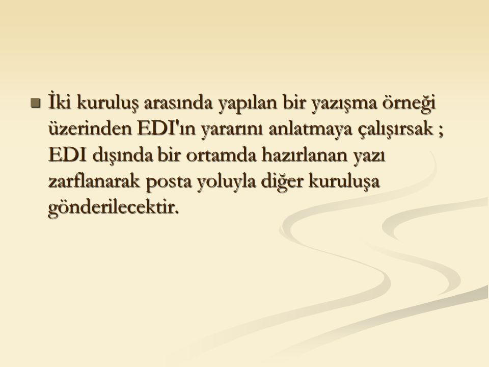 İki kuruluş arasında yapılan bir yazışma örneği üzerinden EDI'ın yararını anlatmaya çalışırsak ; EDI dışında bir ortamda hazırlanan yazı zarflanarak p