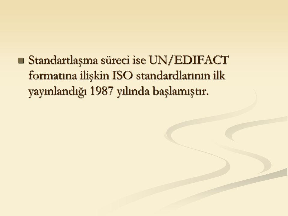 Standartlaşma süreci ise UN/EDIFACT formatına ilişkin ISO standardlarının ilk yayınlandığı 1987 yılında başlamıştır. Standartlaşma süreci ise UN/EDIFA
