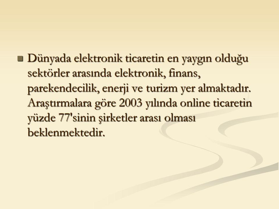 Dünyada elektronik ticaretin en yaygın olduğu sektörler arasında elektronik, finans, parekendecilik, enerji ve turizm yer almaktadır. Araştırmalara gö