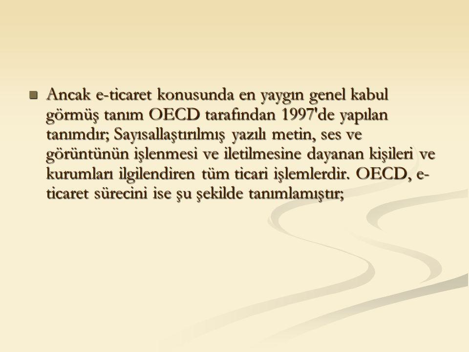 Ancak e-ticaret konusunda en yaygın genel kabul görmüş tanım OECD tarafından 1997'de yapılan tanımdır; Sayısallaştırılmış yazılı metin, ses ve görüntü