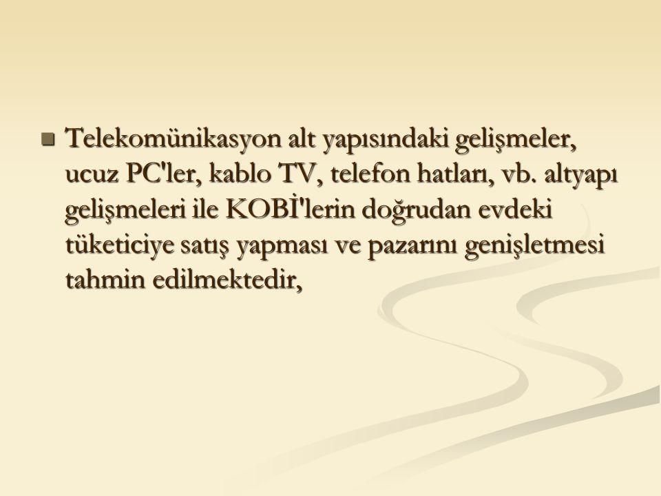 Telekomünikasyon alt yapısındaki gelişmeler, ucuz PC'ler, kablo TV, telefon hatları, vb. altyapı gelişmeleri ile KOBİ'lerin doğrudan evdeki tüketiciye