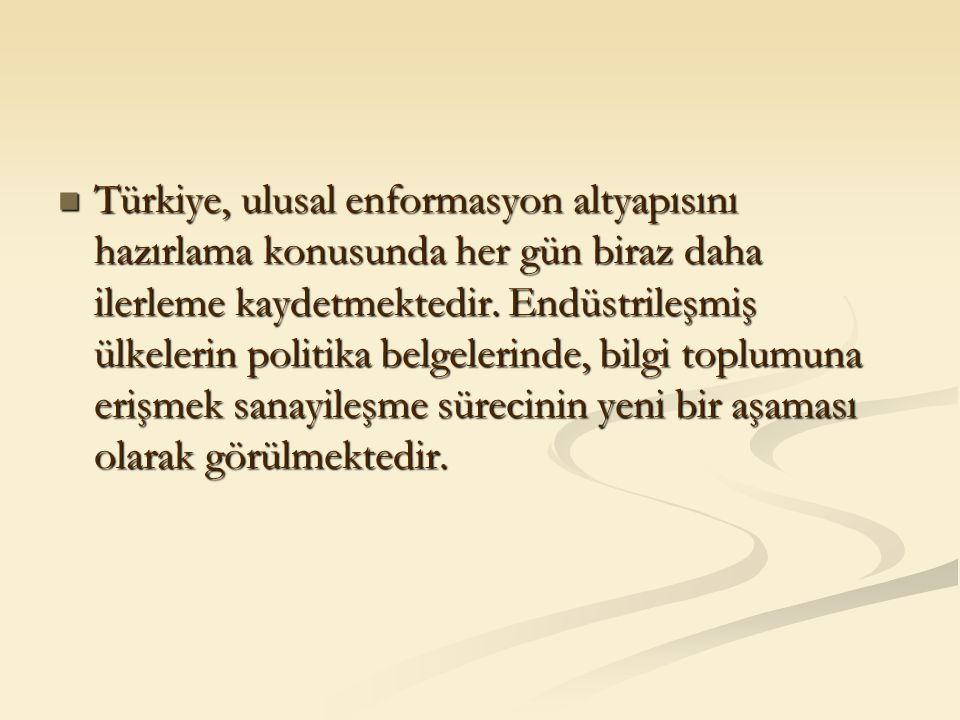 Türkiye, ulusal enformasyon altyapısını hazırlama konusunda her gün biraz daha ilerleme kaydetmektedir. Endüstrileşmiş ülkelerin politika belgelerinde