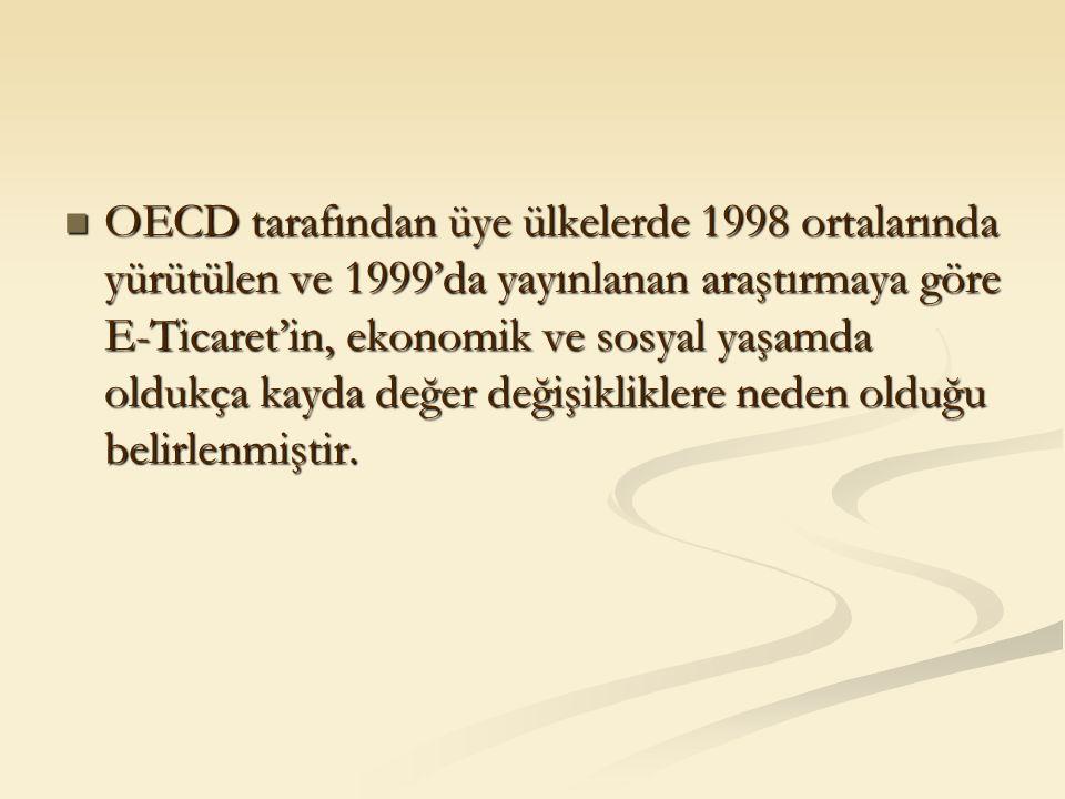 OECD tarafından üye ülkelerde 1998 ortalarında yürütülen ve 1999'da yayınlanan araştırmaya göre E-Ticaret'in, ekonomik ve sosyal yaşamda oldukça kayda