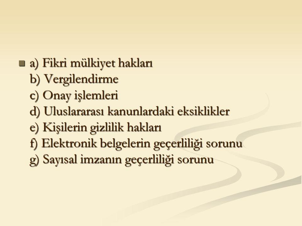 a) Fikri mülkiyet hakları b) Vergilendirme c) Onay işlemleri d) Uluslararası kanunlardaki eksiklikler e) Kişilerin gizlilik hakları f) Elektronik belg