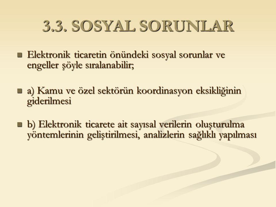 3.3. SOSYAL SORUNLAR Elektronik ticaretin önündeki sosyal sorunlar ve engeller şöyle sıralanabilir; Elektronik ticaretin önündeki sosyal sorunlar ve e