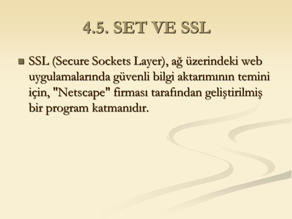 4.5. SET VE SSL SSL (Secure Sockets Layer), ağ üzerindeki web uygulamalarında güvenli bilgi aktarımının temini için,